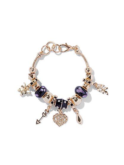 Beaded Goldtone Multi-Charm Bracelet  - New York & Company