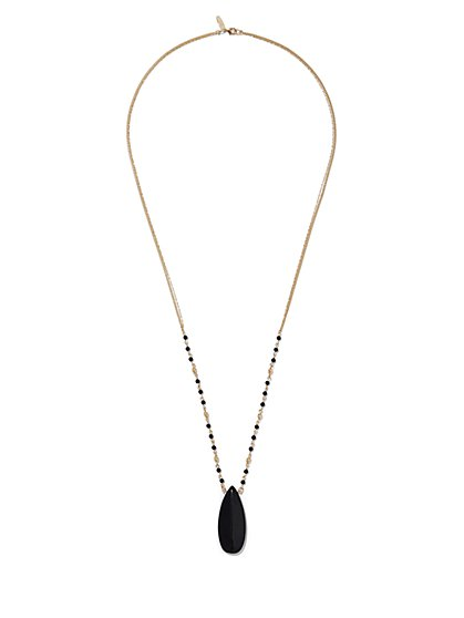 Beaded Goldtone Pendant Necklace  - New York & Company