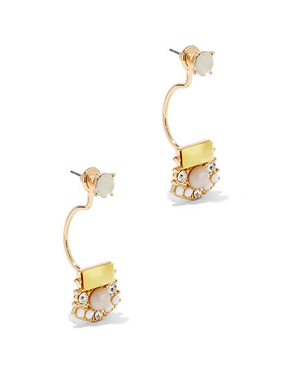Beaded Goldtone Post Drop Earring - New York & Company