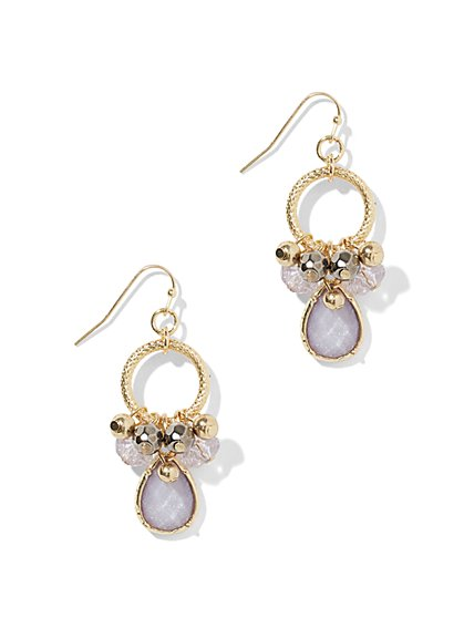Beaded Hoop & Teardrop Earring  - New York & Company