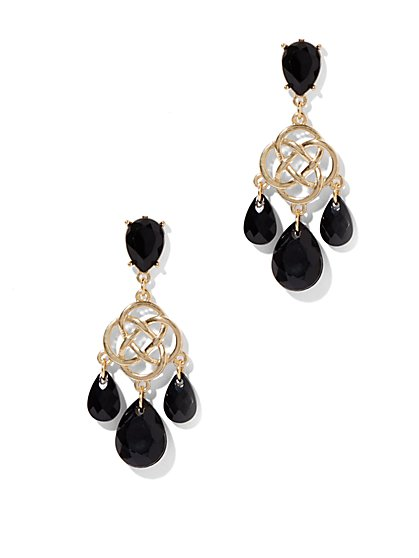 Beaded Knot Drop Earrings   - New York & Company