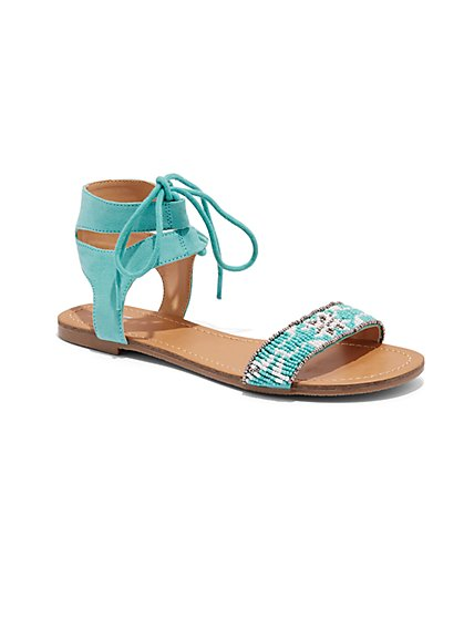 Beaded Lace-Up Sandal  - New York & Company