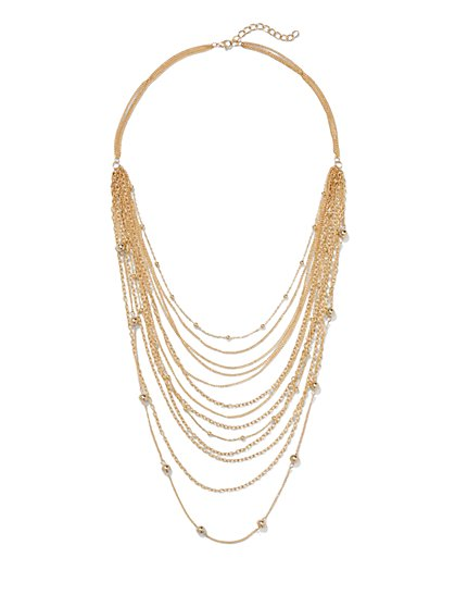 Beaded Layered Chain Necklace  - New York & Company