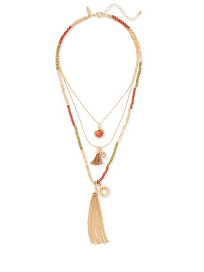 Beaded Layered Necklace  - New York & Company