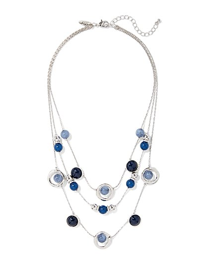 Beaded Layered Silvertone Necklace  - New York & Company