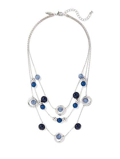 Beaded Layered Silvertone Necklace  - New York & Company
