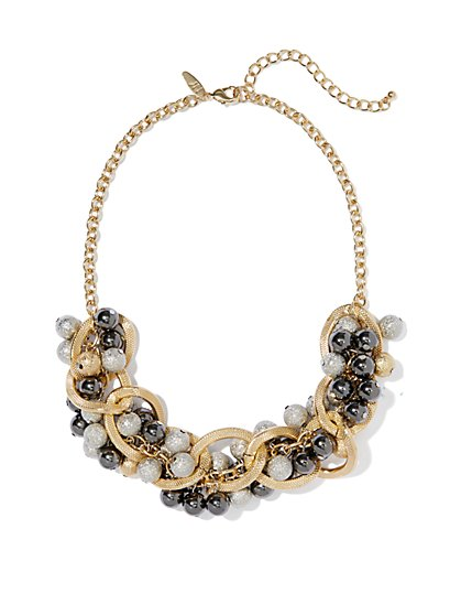 Beaded & Links Metallic Necklace - New York & Company
