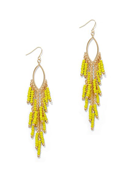 Beaded Marquise Drop Earring  - New York & Company
