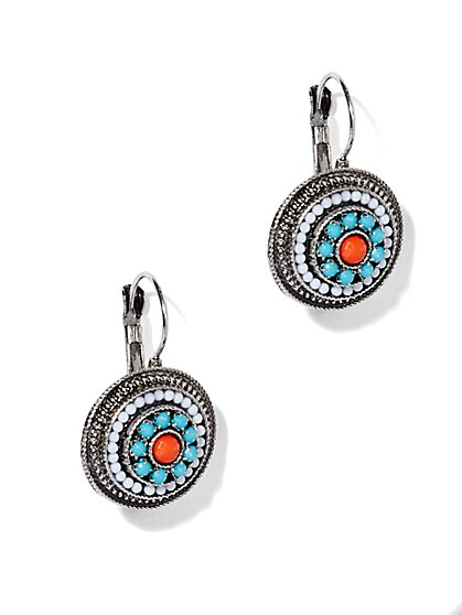 Beaded Medallion Drop Earring  - New York & Company
