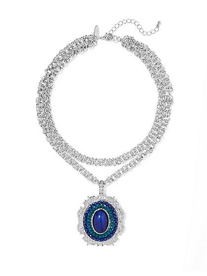 Beaded Medallion Pendant Necklace  - New York & Company