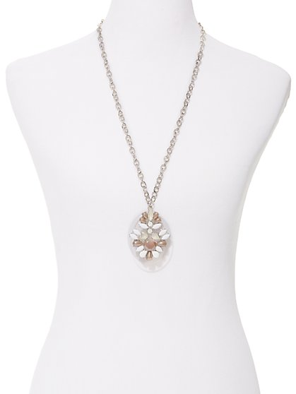 Beaded Medallion Pendant Necklace  - New York & Company