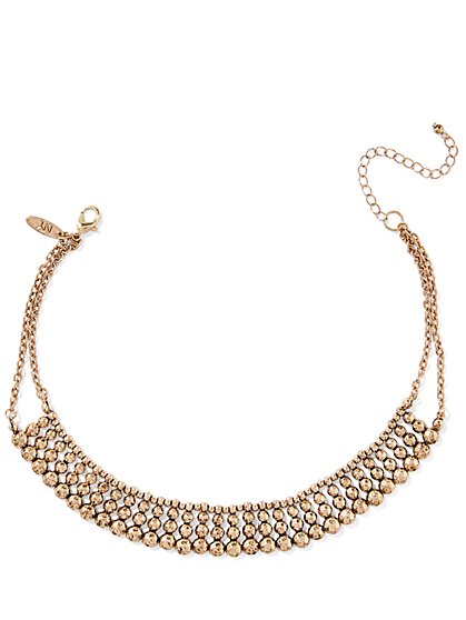 Beaded Metal Choker Necklace  - New York & Company