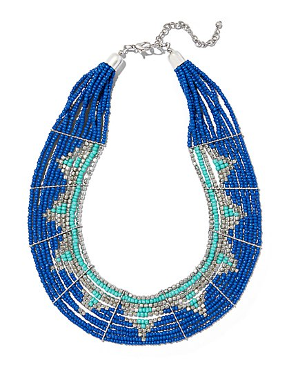 Beaded Multi-Row Statement Necklace  - New York & Company