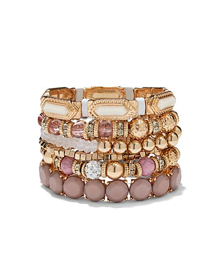 Beaded Multi-Row Stretch Bracelet  - New York & Company