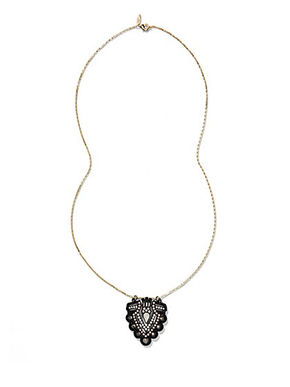 Beaded Shield Pendant Necklace  - New York & Company