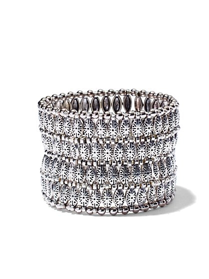Beaded Silver Stretch Bracelet  - New York & Company