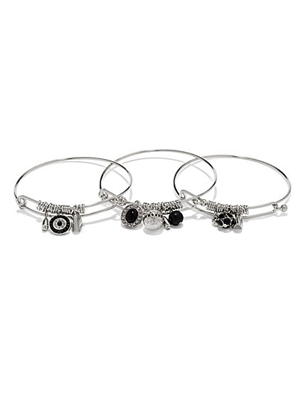 Beaded Silvertone Bangle Set   - New York & Company