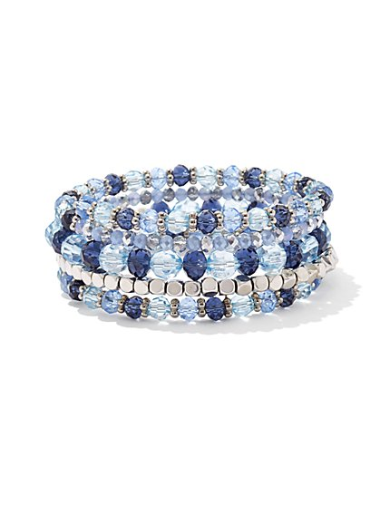 Beaded Silvertone Coil Bracelet  - New York & Company
