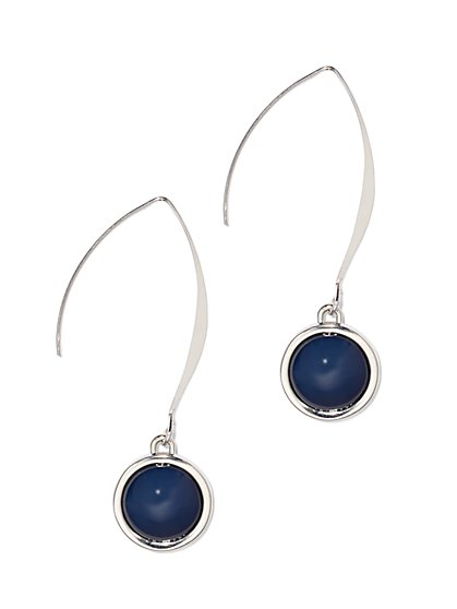 Beaded Silvertone Drop Earring  - New York & Company