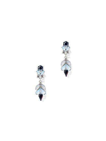 Beaded Silvertone Drop Earring  - New York & Company