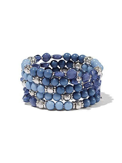 Beaded Silvertone Five-Row Bracelet  - New York & Company