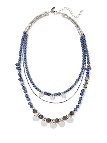 Beaded Silvertone Triple-Row Necklace  - New York & Company