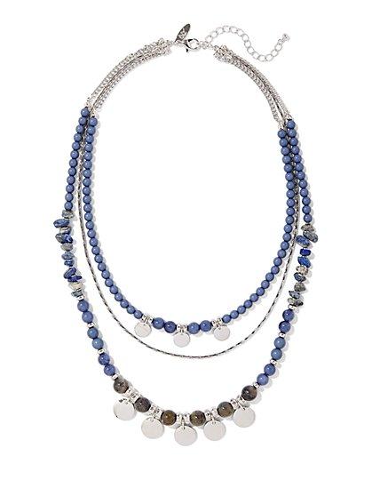 Beaded Silvertone Triple-Row Necklace  - New York & Company