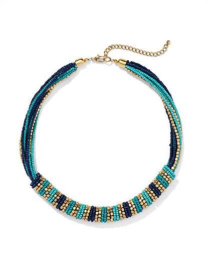 Beaded Spiral Bib Necklace - New York & Company
