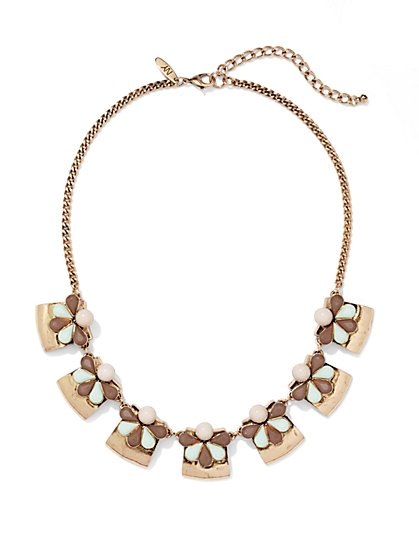 Beaded Squares Bib Necklace  - New York & Company