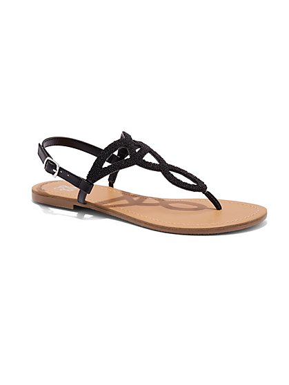 Beaded T-Strap Sandal  - New York & Company