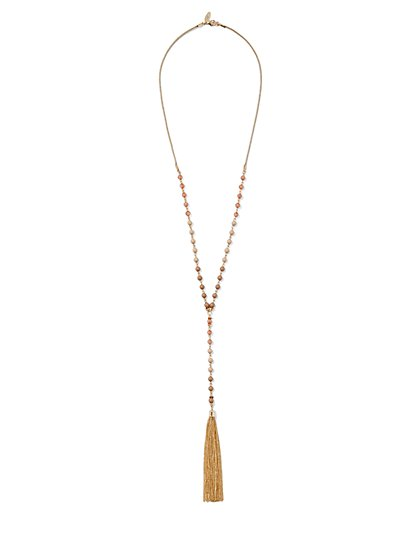 Beaded Tassel Y-Shaped Necklace  - New York & Company