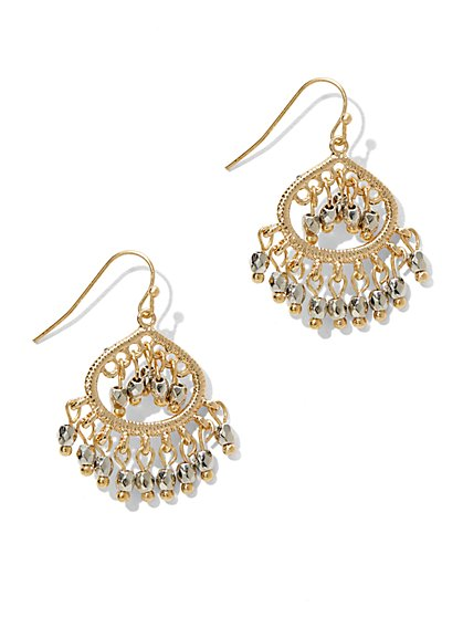 Beaded Teardrop Chandelier Earring  - New York & Company