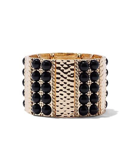 Beaded & Textured Stretch Bracelet  - New York & Company