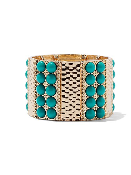 Beaded & Textured Stretch Bracelet  - New York & Company