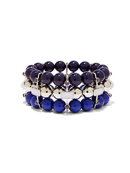 Beaded Three-Row Stretch Bracelet  - New York & Company