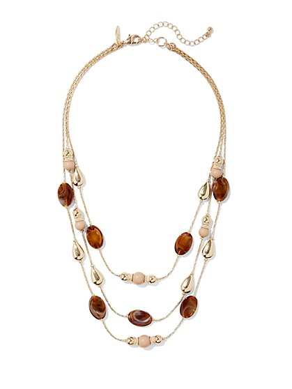 Beaded Triple-Row Goldtone Necklace  - New York & Company