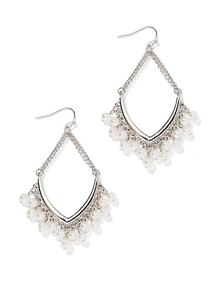 Beaded V-Shape Chandelier Earring - New York & Company