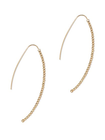 Beaded Wishbone Drop Earring  - New York & Company