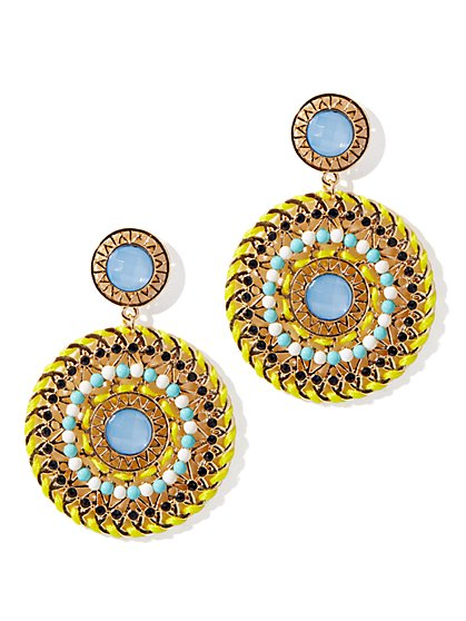 Beaded Woven Disc Earrings