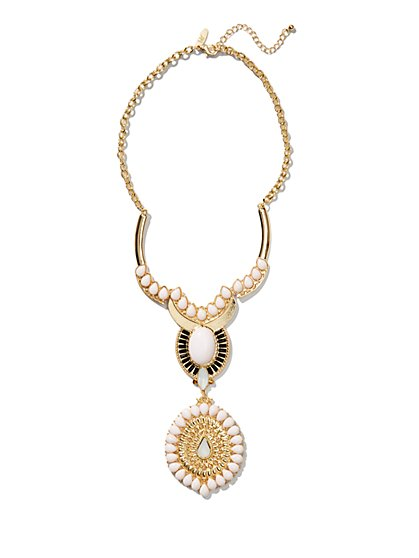 Beaded Y-Shape Pendant Necklace  - New York & Company
