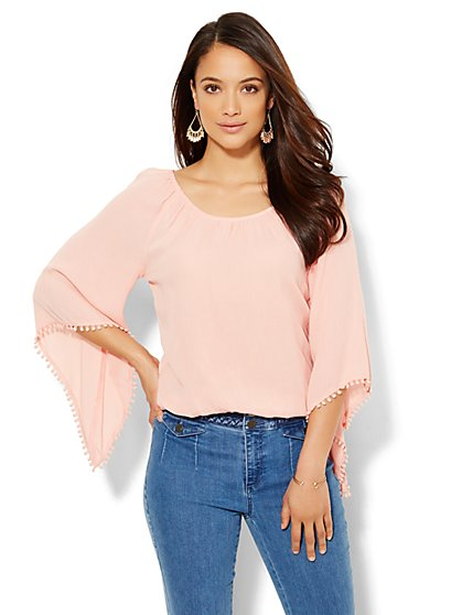 Bell-Sleeve Blouse - Pom-Pom Trim  - New York & Company