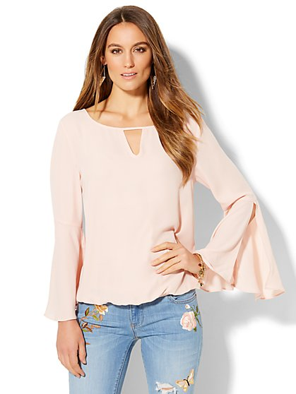 Bell-Sleeve Bubble-Hem Blouse - New York & Company