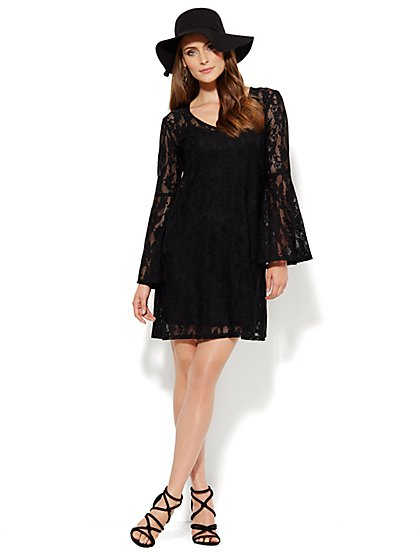 Bell-Sleeve Dress - Black Lace - New York & Company