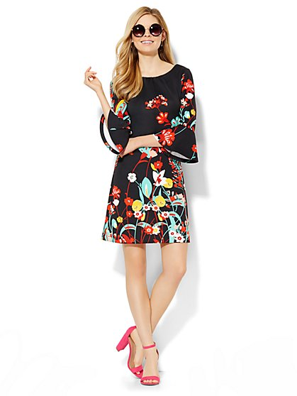 Bell-Sleeve Dress - Floral - Petite  - New York & Company