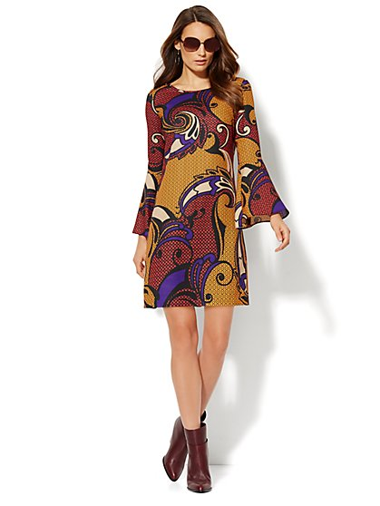 Bell-Sleeve Dress - Graphic-Swirl Print  - New York & Company