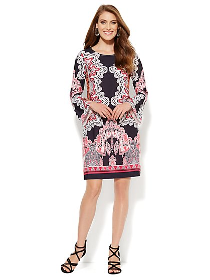 Bell-Sleeve Dress - Lace Print - New York & Company