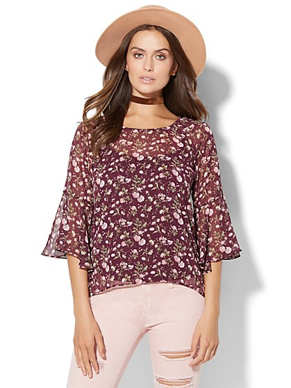 Bell Sleeve Hi-Lo Blouse - Floral   - New York & Company