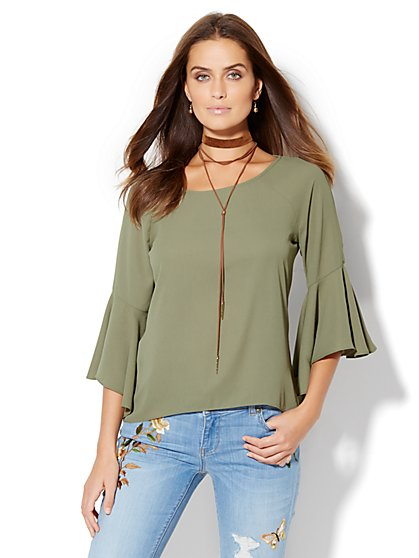 Bell Sleeve Hi-Lo Blouse - Petite  - New York & Company