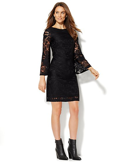 Bell-Sleeve Lace Dress  - New York & Company