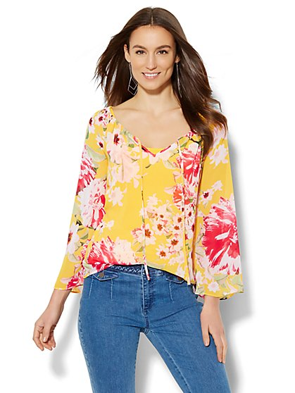 Bell-Sleeve Peasant Blouse - Floral/Linear Print  - New York & Company